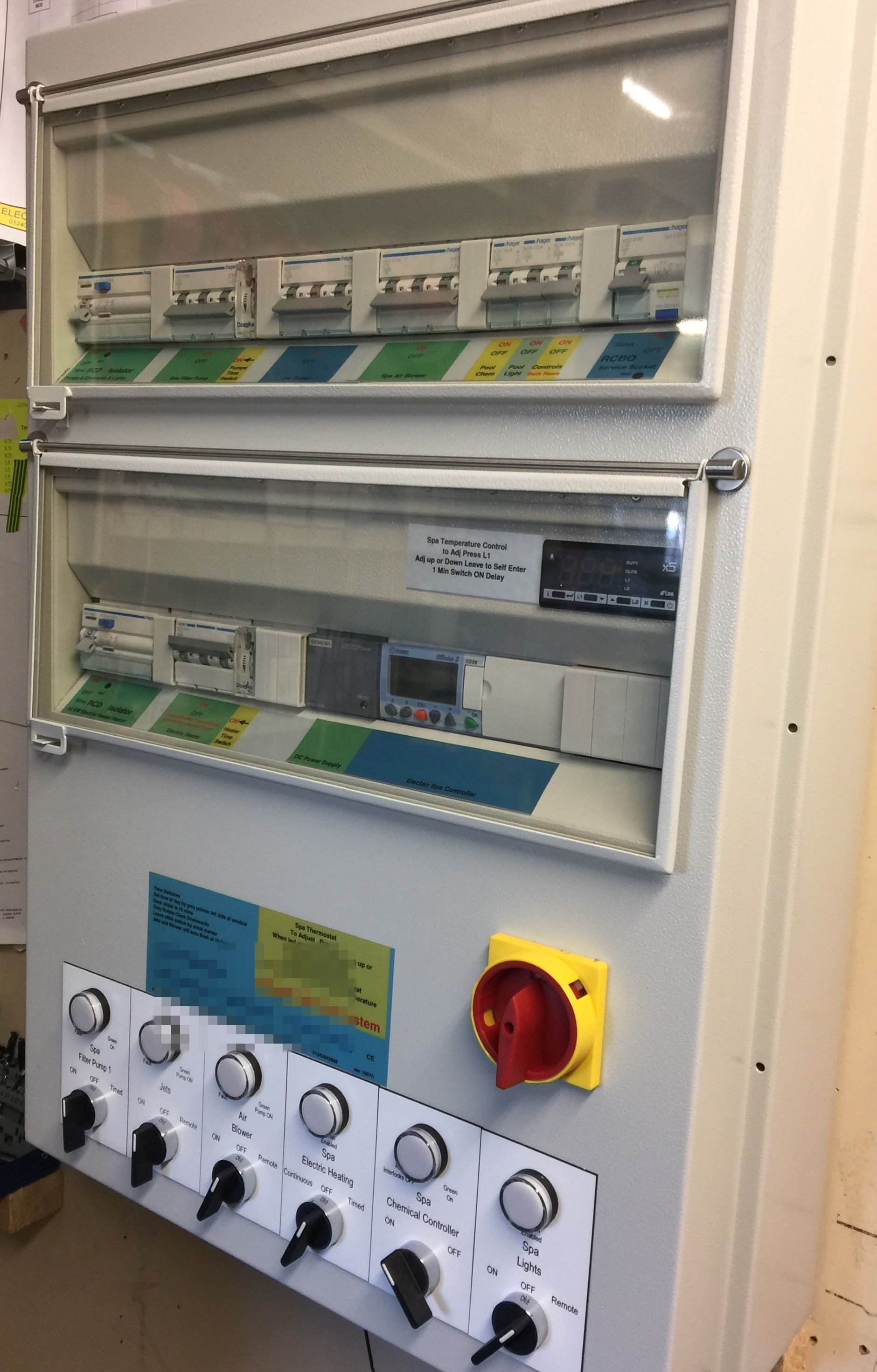 Swimming pool control panel size 4